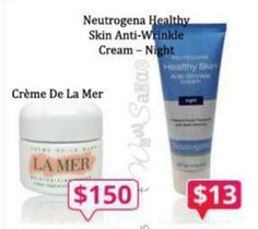 DUPE ~ Creme De La Mer = Neutrogena Healthy Skin Anti-Wrinkle Cream Night