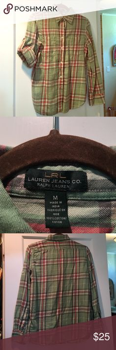 Ralph Lauren plaid flannel shirt Ralph Lauren size medium mint/sagish green and pink flannel shirt. There are buttons on sleeves to allow for rolled sleeves to be secured. Minor pilling as is typical for flannel/cotton. Ralph Lauren Tops Button Down Shirts