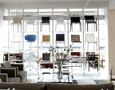 Rakks shelving system installed at the SUITE NY modern furniture showroom in Manhattan NYC