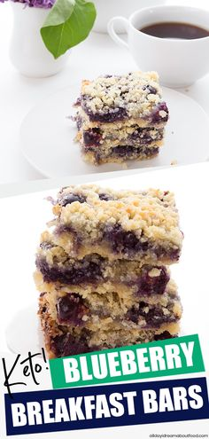 Blueberry Breakfast Bars Low Carb - Keto Breakfast - Ideas of Keto Breakfast - Crumbly and delicious these low carb blueberry bars make a wonderful breakfast or dessert. Tender oatmeal like crust with no grains and no added sugar! Desserts Keto, Blueberry Desserts, Blueberry Breakfast, Breakfast Bars, Breakfast Cookies, Keto Snacks, Breakfast Ideas, Healthy Low Carb Breakfast, Breakfast Quiche