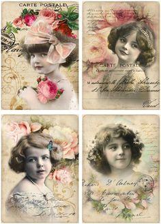 Kaarten roosjes tekst (4 stuks)   ~Postkaarten   Nostalgie & Brocante