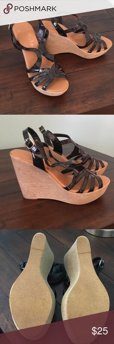Callista of California wedge sandals. Size 8 Black wedge sandals 4.5 in heels. Very comfortable. Hardly worn. Patent leather straps. callista of california Shoes Wedges
