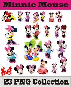 Minnie Mouse Collection PNG Vector Instant Download Clipart Digital Albums Magnets Collage Greeting Cards Sticker Printable Party Items by SlavGraphics on Etsy