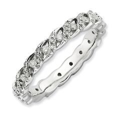 Sterling Silver Stackable Expressions Polished Diamond Ring