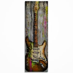 Guitar art, Rustic Vintage inspired Music Art, Gift for a musician Original textured electric guitar painting on canvas - MADE TO ORDER Music Room Art, Sheet Music Art, Music Artwork, Guitar Painting, Guitar Art, Painting & Drawing, Music Guitar, Texture Painting On Canvas, Canvas Art