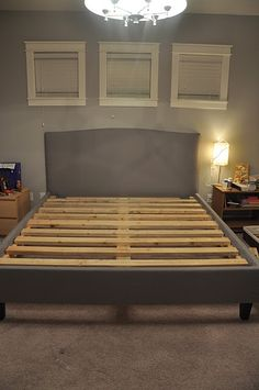 diy bed frame. Pallets and 2x6