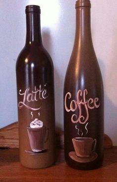 Wine Bottle Glasses, Wine Bottle Corks, Wine Bottle Crafts, Bottles And Jars, Glass Bottles, Wine Glass, Coffee Theme Kitchen, Wine Craft, Coffee Wine