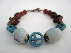 Beaded Bracelet Peace for the Birds by playsculptlive, $40.00