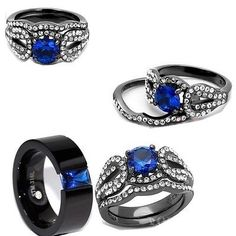 HIS AND HER BLACK & BLUE CZ  STAINLESS STEEL ENGAGEMENT WEDDING RING SET