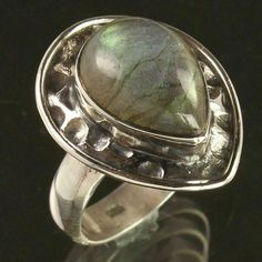 Natural LABRADORITE Gemstone 925 Sterling Silver Nice Collection Ring Size US 6 #Unbranded