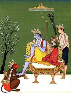 Online Art Gallery Painting - Lord Rama Sita Lakshmana and devotee Hanuman Indian Miniature Painting Watercolor Artwork India by B K Mitra Rajasthani Miniature Paintings, Rajasthani Painting, Rajasthani Art, Pichwai Paintings, Indian Art Paintings, Indian Artwork, Mughal Paintings, Turbans, Rama Sita