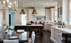 Peacock Cabinetry - kitchens - Goodman Hanging Lamps Hand Rubbed Antique Brass, 2 tone kitchen, 2 tone cabinets, 2 tone kitchen cabinets, br...