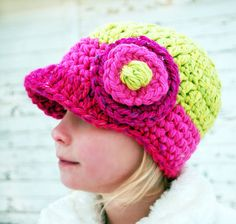 ThickieCrochet Hat with Brim and FULL Bloom for by thedarlingbud, $24.00