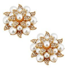 Amazon.com: ElegantPark AE Fashion Rhinestones Ivory Pearls Wedding Party Gold Shoe Clips 2 Pcs: Shoes