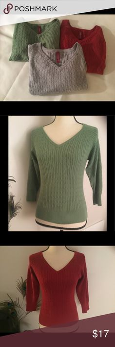 """Bundle of 3 sweaters 3 sweaters already machined washed and dried. 3/4 sleeves. Plenty of life left in them for the right """"little"""" lady. gitano Sweaters"""