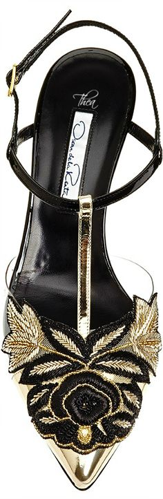 Oscar de la Renta ~ Black Leather Ankle Strap Sandal w Gold Floral Applique Detail