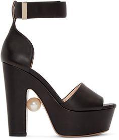 Nicholas Kirkwood - Black Leather Maya Pearl Sandals