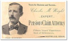 Charles M. Wright Charles M. Wright's business card dates back to He specialized in Civil War pensions in Wapello, Iowa. He includes his picture on the card, as he is branding himself (see this discussion about that). Make Business Cards, Digital Business Card, Vintage Business Cards, Business Card Design, Typed Quotes, Calling Cards, Evernote, Marketing, Online Business