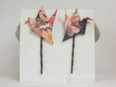 Dark blue origami crane hair pin.