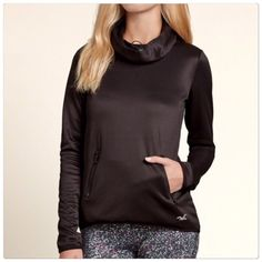 Hollister funnel neck  top Black funnel active neck top. Size S. Brand new with tags. PRICE IS FIRM!  Hollister Sweaters