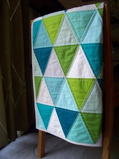 Modern Baby Quilt in Aquas, Blues, Greens & Neutral Triangles w/ FREE U.S SHIPPING