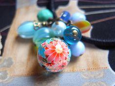 handmade accessory beads Hair Elastic   japanease aqua