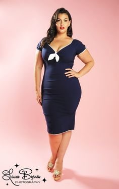 Natalie Dress in Nautical Blue with White Trim by Pinup Couture