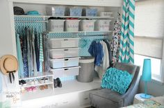 Turquoise Girls Teen Tween Closet Organized :: OrganizingMadeFun.com