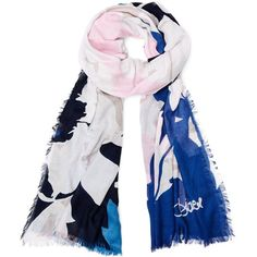 DIANE VON FURSTENBERG Grace Modal Printed Scarf ($168) ❤ liked on Polyvore featuring accessories, scarves, large denim floral scarf, floral print scarves, floral scarves, oversized scarves, patterned scarves and print scarves