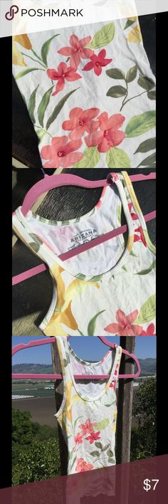Flower print tank top Tank top with flower print. Spring/summer colors, pink and yellow and green. Very stretchy fabric. Arizona Jean Company Tops Tank Tops