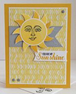 """Ray of Sunshine Stamp Set; Crushed Curry, Smoky Slate & Whisper White CS; Memento Tuxedo Black, Crushed Curry & Daffodil Delight Inks; Banners Framelits; Circle Card Thinlets; Cloudy Day Embossing Folder; 1 3/4"""" Circle Punch; Neutrals Candy Dots in Smoky Slate."""