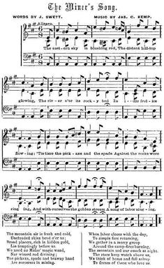 1857 song to tell the story of the California Gold Rush miners