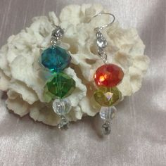 """Handmade Crystal Dangle Earrings Handmade by me...  These earrings are really beautiful especially if you like color.  I'm not sure if their Swarvorski or not.  They do have lots of sparkle. The hooks are .925 Sterling Silver. Measuring 3"""" inches. JewelryByShari Jewelry Earrings"""
