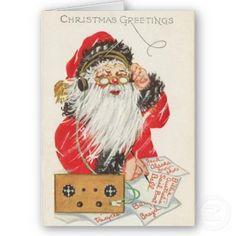 "Vintage Christmas Card ~ Santa Claus listening to a vacuum tube radio. ""Christmas Greetings"". Circa early 1900's."