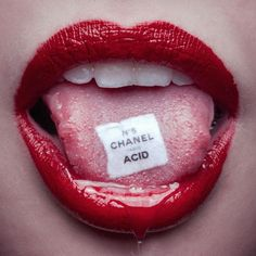 Chanel Acid by Tyler Shields. Buy photographer Tyler Shields photography, historical fiction images, Francesca Eastwood prints for sale. Tyler Shields, Tableau Pop Art, Photo Wall Collage, Red Aesthetic, Limited Edition Prints, Prints For Sale, Red Lips, Aesthetic Wallpapers, Drugs