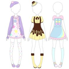MRA: Fairy Kei Designs 2 by VanillaChama on DeviantArt Manga Clothes, Drawing Anime Clothes, Fashion Design Drawings, Fashion Sketches, Kawaii Drawings, Cute Drawings, Anime Outfits, Cute Outfits, Cartoon Outfits