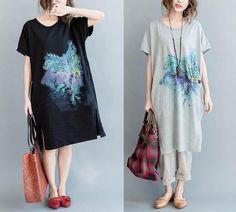 Art vintage print summer loose cotton t-shirt- dress