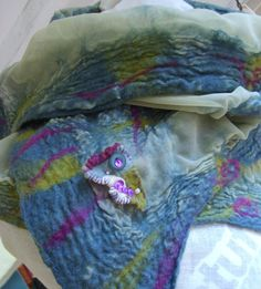 PEACOCK nuno felted scarf by Beautifulfelts on Etsy, $55.00