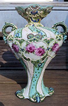 Antique Nippon Moriage Vase Aqua Rose Multi