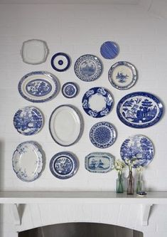 Image result for white kitchen blue dishes
