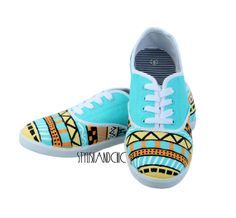 I really want to get a cheap pair of sneakers and try replicate these tribal designs. I looked on Etsy.com and it's just way too expensive to purchase these sneakers; you might as well do it yourself.