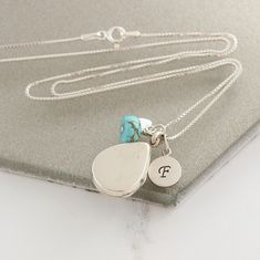 Beautiful polished sterling silver, rose gold or gold teardrop locket necklace personalised with letter charm and birthstone, add a secret message or image to create sentimental gift for a loved one Birthstone Charms, Birthstone Necklace, Locket Necklace, Gemstone Bracelets, Gemstone Necklace, Turquoise Jewellery, December Birthday, Letter Charms, Pearl Stud Earrings