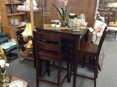 Pub sized Table and 4 Chairs - Compact pub sized table and 4 seats ( 2 chairs and 2 stools).  Would suit smaller spaces.  Item 861-1.  Price $280.00   - http://takeitorleaveit.co/2015/06/30/pub-sized-table-and-4-chairs/