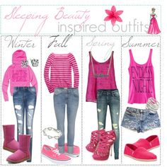 Sleeping beauty inspired outfits for all seasons. Cute.