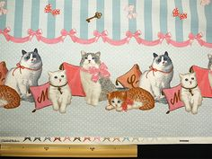 Classical and Modern Japanese Fabric  Cats and Stripes Design    Nice and Fancy Design.    100% Cotton (Oxford)      The size is 110cm x 50cm