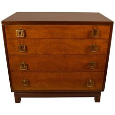 Renzo Rutili For John Stuart Four Drawer Bachelors Chest | From a unique collection of antique and modern dressers at https://www.1stdibs.com/furniture/storage-case-pieces/dressers/