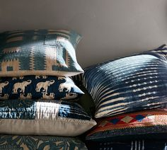 Shibori pillows mix seamlessly with various patterned pillows to create a collected and layered look that is easy in incorporate into an existing design.