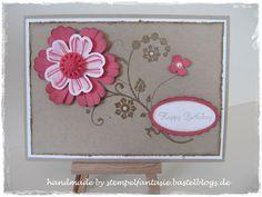 Stampin' Up! Geburstagskarte Embossing Flowering Flourishes Stiefmütterchen Blume