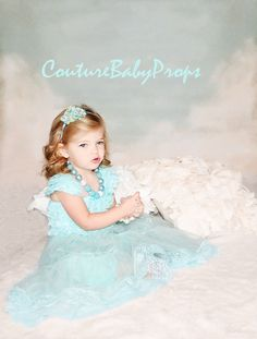 Vintage Aqua Mint Ruffle Lace Girl's DRESS SET by CoutureBabyProps