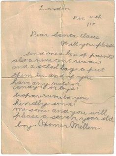100 years ago: a letter to Santa from a 7 year old boy